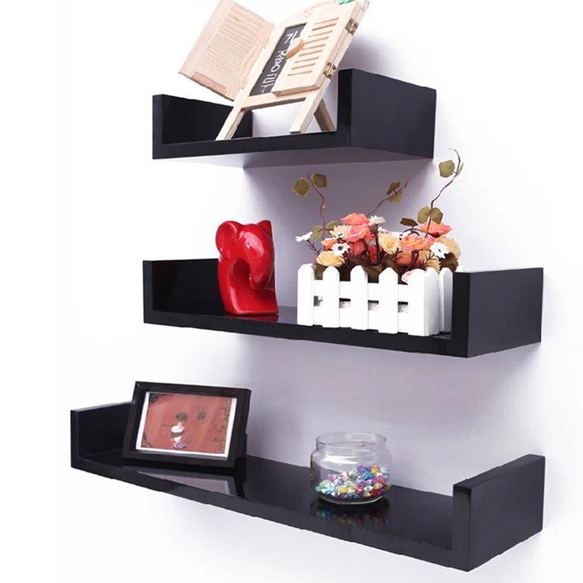 Set of 3 U Shape Floating Wall Shelves Storage Display Shelf Black/White/Red
