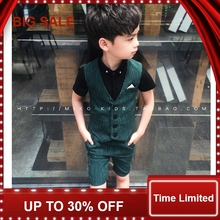 Boy Costume Striped Single Breasted for & Blazers Vest + Shorts 2Pcs Childrens Suit 2-7T