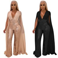 Women Cape Split Extra Long Sleeve Sequin Jumpsuit Elegant Sexy Deep V Neck Slim Romper Skinny Night Club Party Overall
