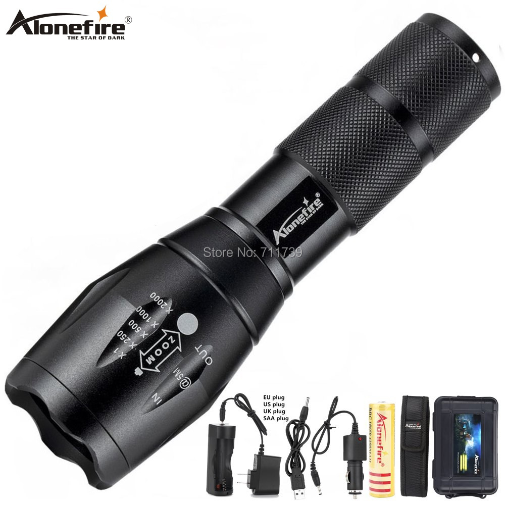 Alonefire G700 X800 <font><b>CREE</b></font> XML T6 <font><b>L2</b></font> <font><b>U3</b></font> <font><b>LED</b></font> high power Zoom Tactical <font><b>LED</b></font> Flashlight Torch lantern AAA 18650 Rechargeable Battery image
