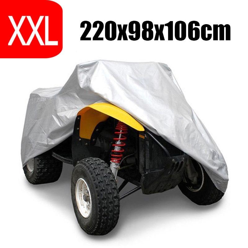 XXL 190T Silver 4 Wheel Quad ATV Cover For Polaris Hon-da For Yamaha Su-zuki Waterproof Anti-UV Dustproof ATV Quad Cover