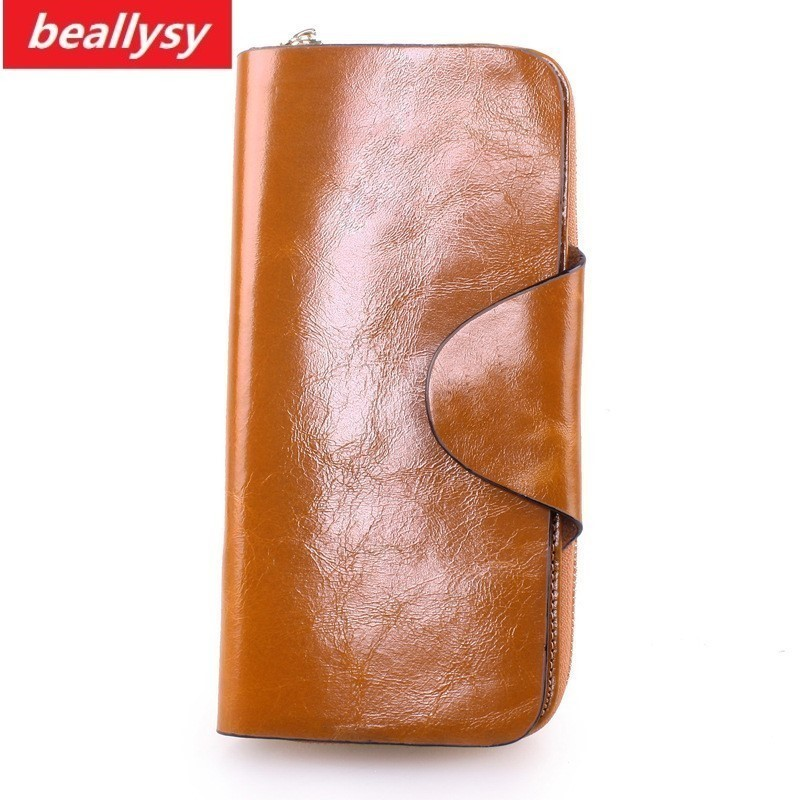 Hot Sales First Layer Of Cowhide Female Wallet Zipper Genuine Oil Wax Leather Long Design Lover Men/Women Coin Card Wallets