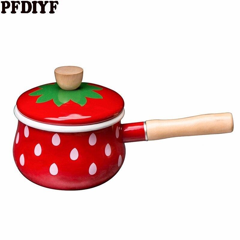 Marmite à lait en émail casserole à fraise poignée unique casserole alimentaire complémentaire petit marmite à nouilles pour cuisinière à Induction cuisinière à gaz