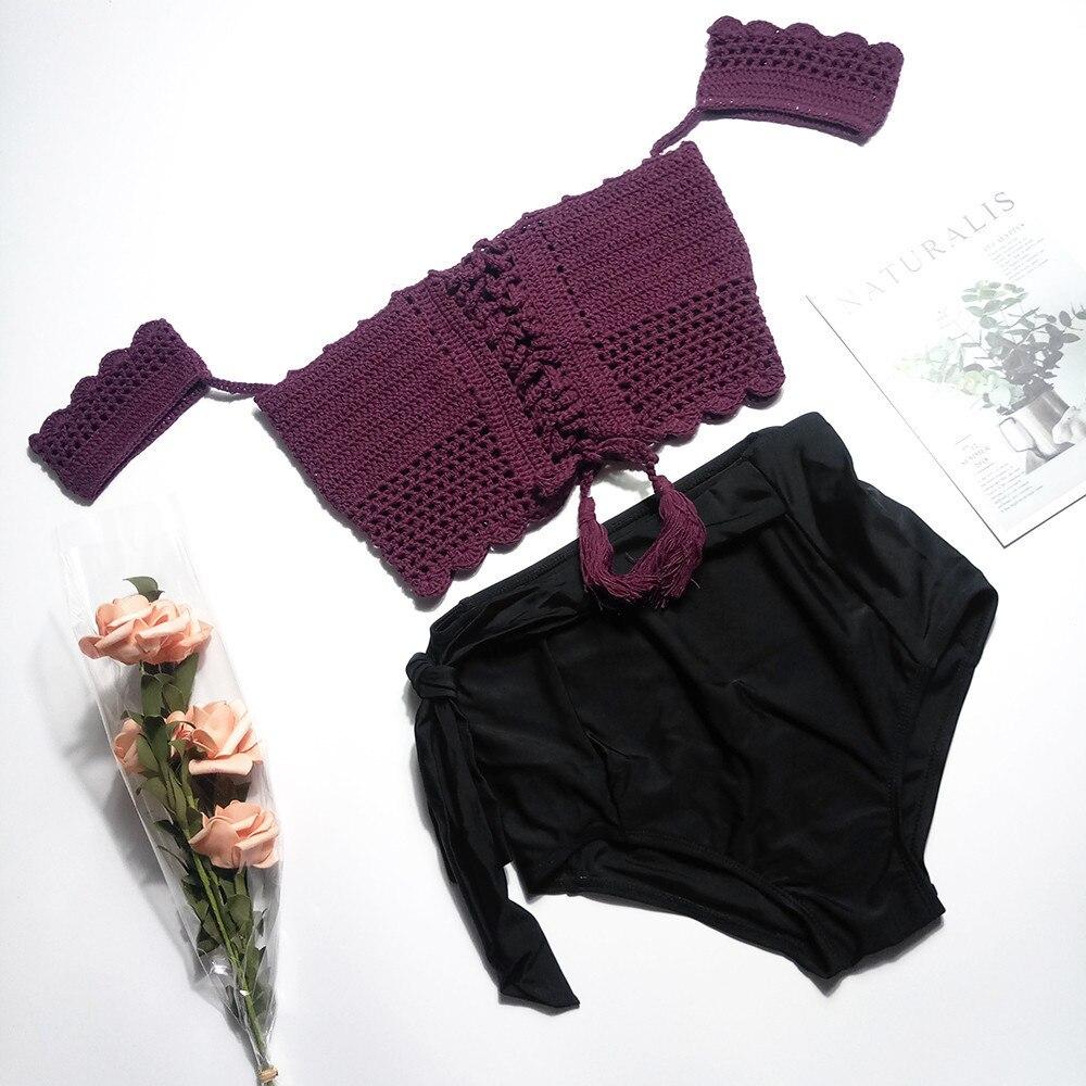 2019 date tricoté Bikini maillot de bain hors épaule maillots de bain femmes creux taille haute maillots de bain filles plage natation été
