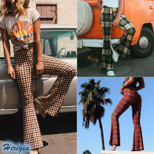 Women Casual Flare Pants 2019 New Women Casual Elastic High Waist Plaid Slim Flared Pants 3 Color Size S-XL