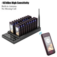 Coaster pager 20 Channels Guest Paging System -107dBm High Sensitivity Wireless Queue Calling System  Wireless paging system