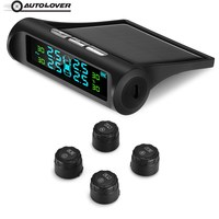 AutoLover Solar System TPMS Tire Pressure Monitoring System Power Universal Wireless Real Time Displays With 4 External Sensors