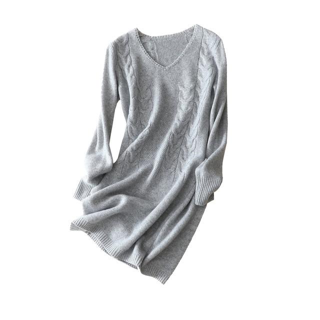 Shuchan 2018 New Winter Dress Knitted Warm Cashmere Knee-length Sheath Long Sleeve V-neck High Quality Fashion Designer Dresses