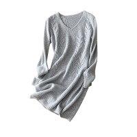 Shuchan 2018 New Winter Dress Knitted Warm Cashmere Knee length Sheath Long Sleeve V neck High Quality Fashion Designer Dresses