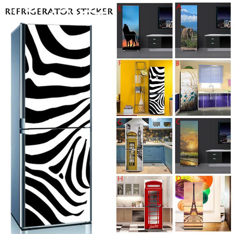 Décoration de la maison bricolage frigo décor remis à neuf autocollant PVC auto-adhésif réfrigérateur couverture réfrigérateur autocollant taille 60x150 cm/60x180 cm
