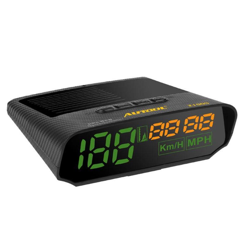 AUTOOL X100S Universal Car HUD GPS Head Up Display Speedometer Solar Charging MPH/KM/h LED Digital Auto Speed Overspeed Alarm