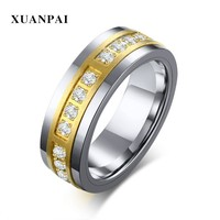 Men's Tungsten Carbide Fiber Combination Ring Silver Cubic Zircon Stone Inlay Fashion Male Accessories
