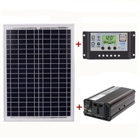 18V20W Solar Panel +12V / 24V Controller + 1500W Inverter Ac220V Kit, Suitable For Outdoor And Home Ac220V Solar Energy Saving