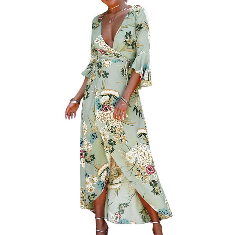 Women's Floral Print Rayon Dress Sexy V-Neck Waist Tie Wrapped Dress Asymmetric Hem Beach Dress Bikini Cover Up