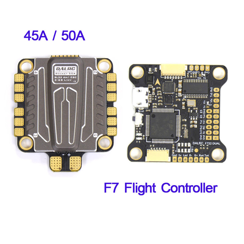 30.5*30.5mm DALRC Rocket 50A / 45A 3-6S Blheli_32 DSHOT1200 Ready 4 In 1 ESC & F722 DUAL STM32F722RGT6 F7 Flight Controller Set