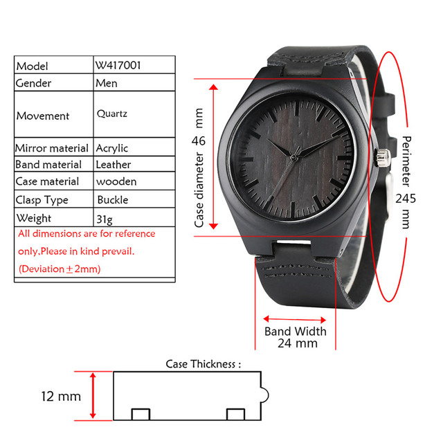 Engraved Wishes Words Wood Mens Watches Minimalist Genuine Leather Wrist Watch Quartz Top Gifts for Dad/Son/Boyfriend with Box 1