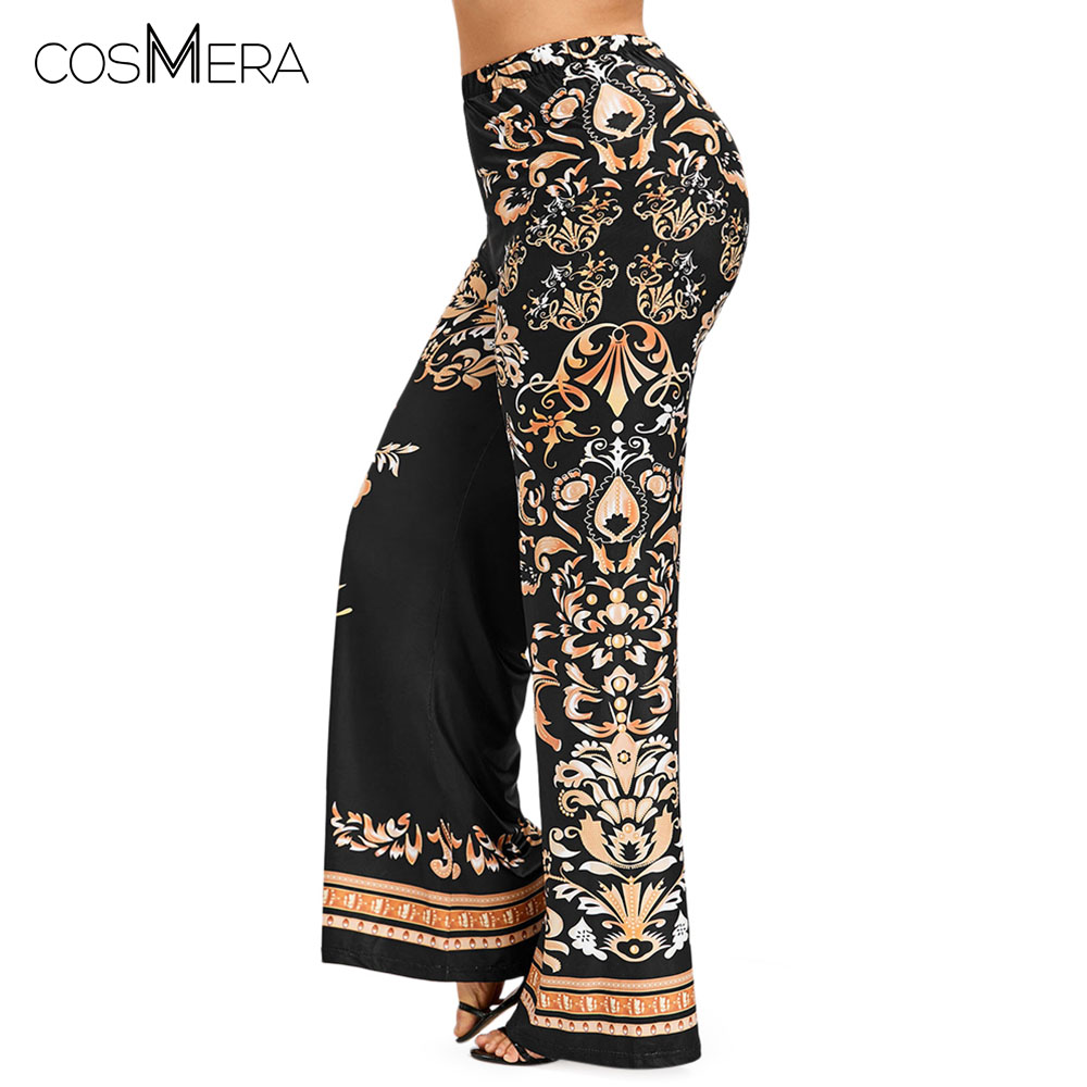 CosMera Baroque Print Palazzo   Wide     Leg     Pants   Bid Size Casual Overlength High Elastic Waist   Pants   Women   Pant   Trousers Plus Size