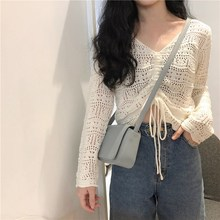 Bohemian V Neck Drawstring Female Blouse Shirt Casual Wear Hollow Out White Shirt Top Casual Summer Top
