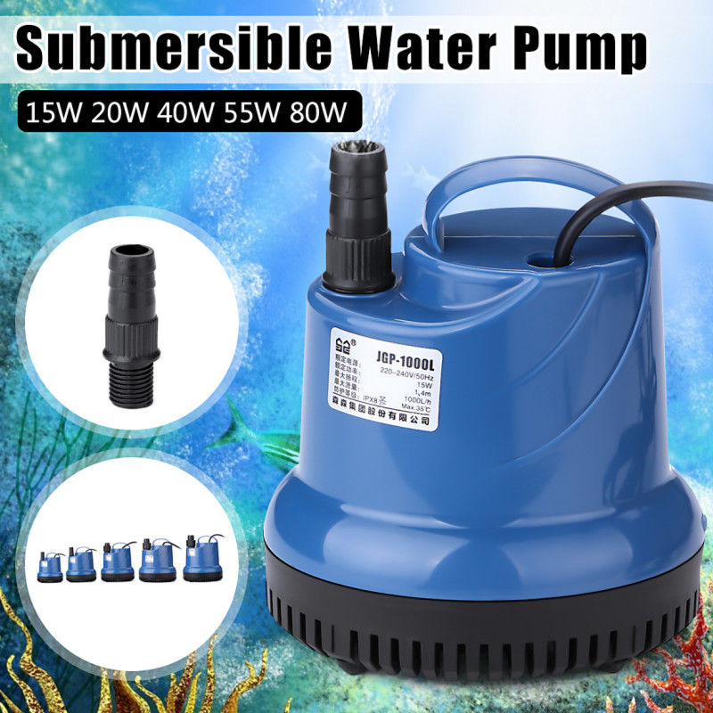 Silent 15/20/40/55/80W 220V Submersible Water Pump Fish Tank Circulating Aquarium Fountain Hydroponic Safety Energy Save Filter