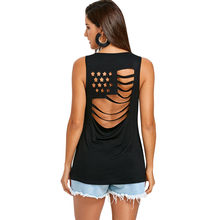 Wipalo Women American Flag Open Back Sleeveless T-Shirt Fashion Cut Out Sleeveless Solid Slim Tops Ladies Summer Top S-2XL(China)