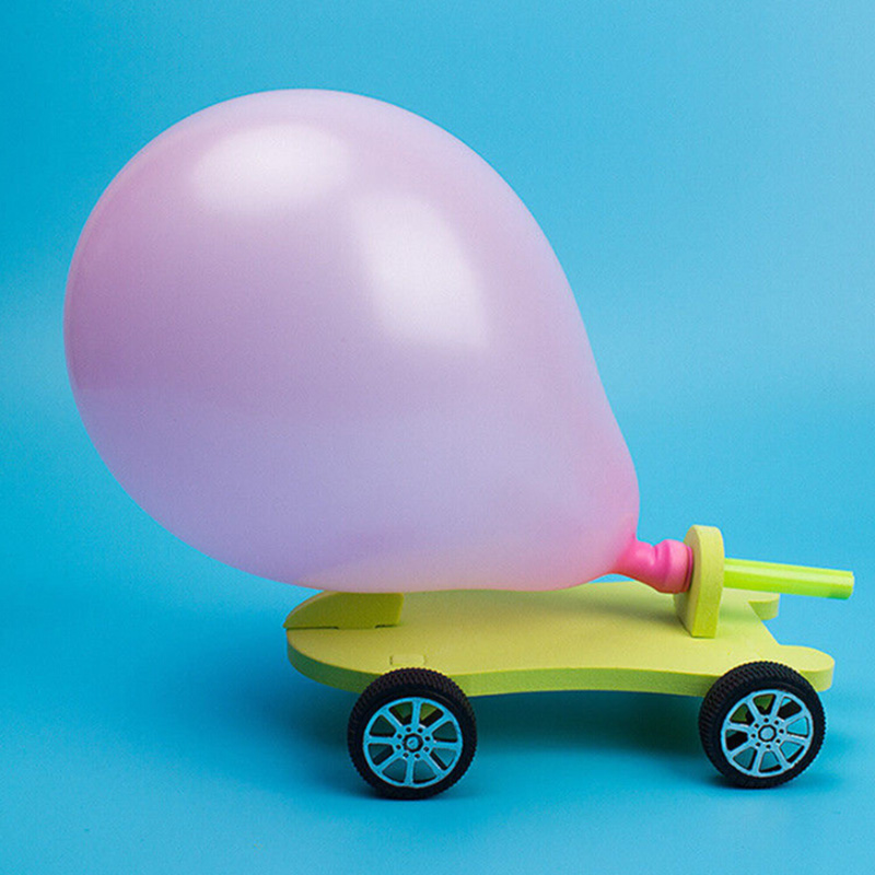 Balloon Powered Car Recoil Force Science Technology Experiment Kids Toys DIY Hot