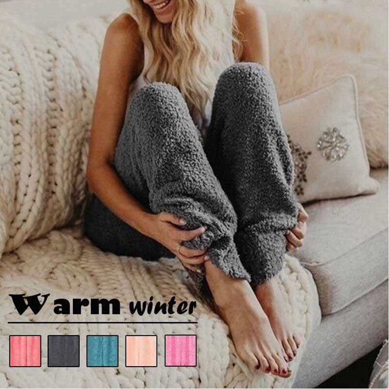 Winter Warm Fluffy Faux Fur Casual Plain Womens Loose Long   Pants   Trousers