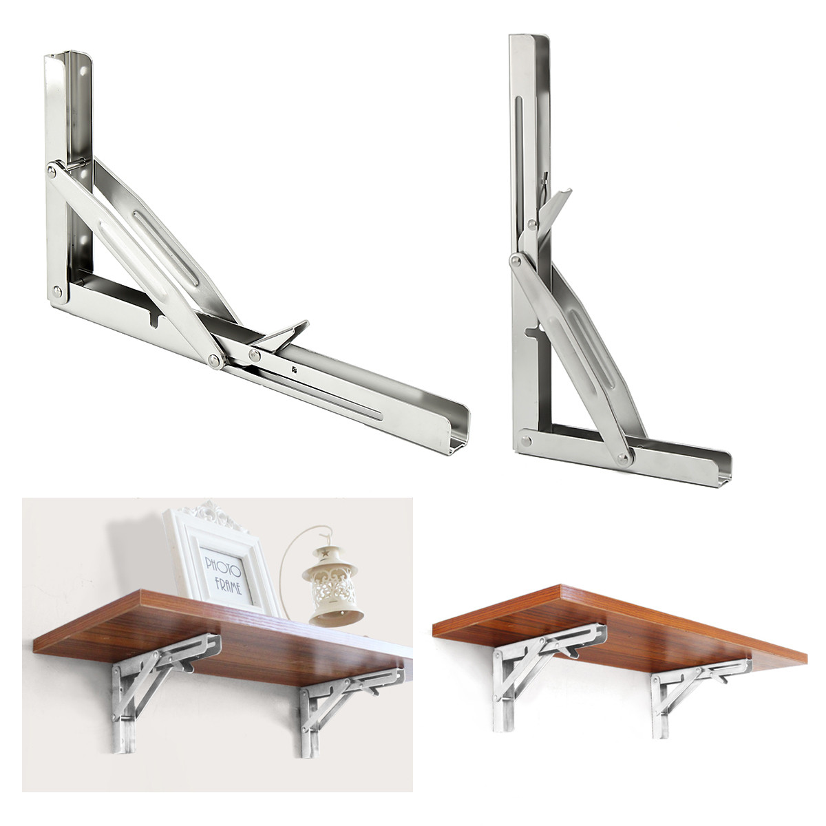 250kg Load 305 X 165mm 316 Stainless Steel Folding Shelf Benc Table Bracket Marine Grade Home Desk Bookrack Cup Holder Secretail