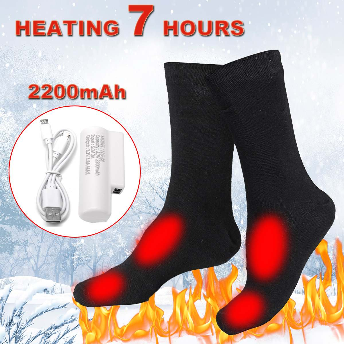 3.7V 3adjustable Temperature Electric Heated Socks Men/Women Thermal Heating Long Cotton Sock For Cold Feet Winter Warm Foot Leg