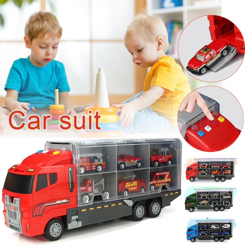 Alloy Loading Transporter Car Toy Suit Cargo Truck Large Container Truck Light Music Fire Engineering Set Toy for Children
