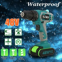 48V 5000mAh 2528Nm 25 speed Torque Double Speed Brushless Cordless Electric Drill Screwdriver LED lighting