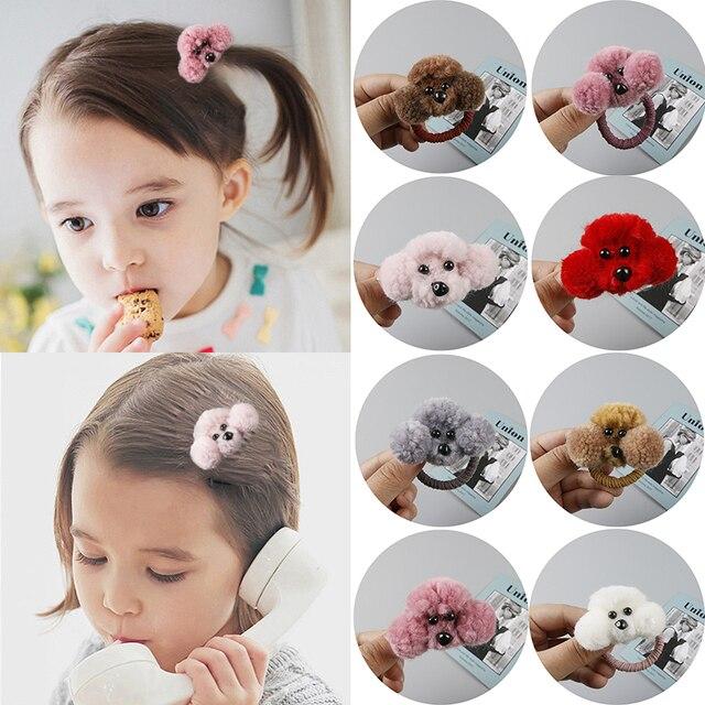 Hot 1 pc Novo projeto Coreano Bonito Do Cão de Pelúcia de Cabelo corda Acessórios Para o Cabelo Grampos de Cabelo Do Bebê Dos Desenhos Animados Populares 3D