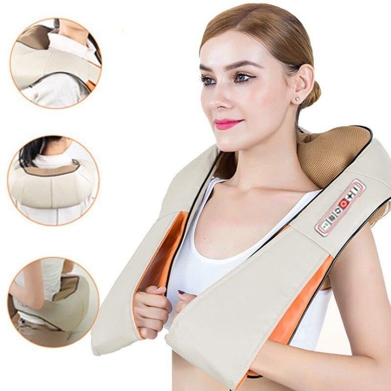 Massager elétrico do rolo do pescoço shiatsu para a dor nas costas massagem de aquecimento infravermelho gua sha produto cuidados de saúde do corpo carro em casa relaxar
