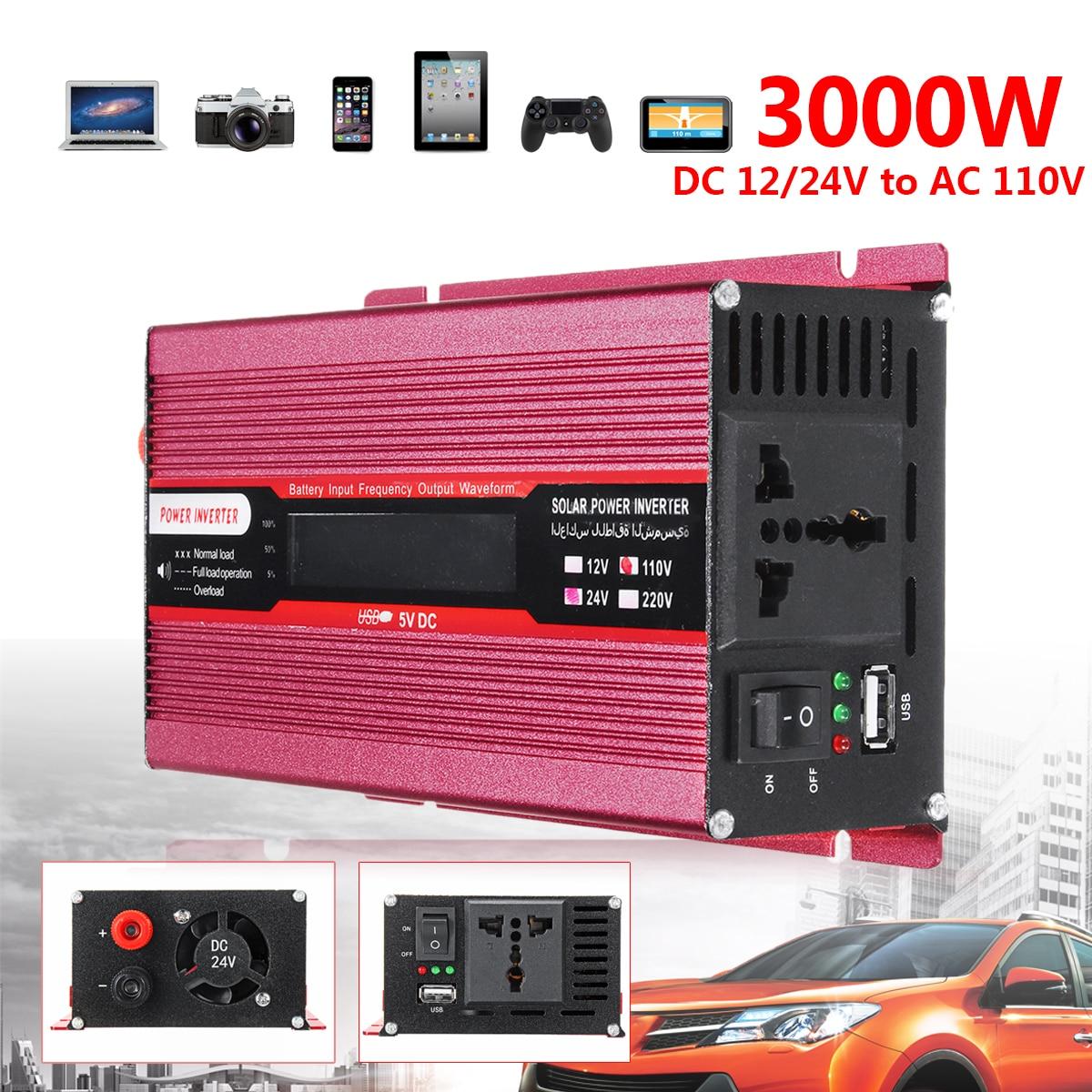 Автомобиль Мощность Пик инвертор 3000 W 12/24 V AC 220/110 V USB модифицированный синус преобразователь волна низкая Шум Напряжение трансформатор USB Ал...