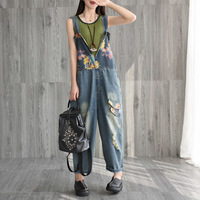 Wide Leg Denim Overalls Baggy Cowboy V Neck sleeveless Strap Trousers Printed jean Jumpsuits Large size Drop Crotch Rompers