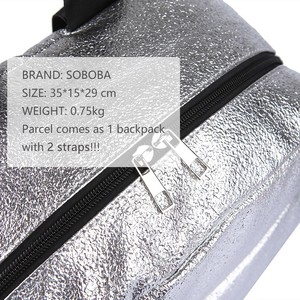 Image 5 - Soboba Textured Silver Travelling Diaper Bag Fashionable Large Capacity Nappy Bags Stylish Maternity Baby Stroller Bags/Backpack