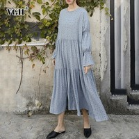 VGH Spring O Neck Butterfly Sleeve Sweet Chiffon Dress Loose Oversize Mia calf Dot Pleated Women's Clothing 2019 Fashion New