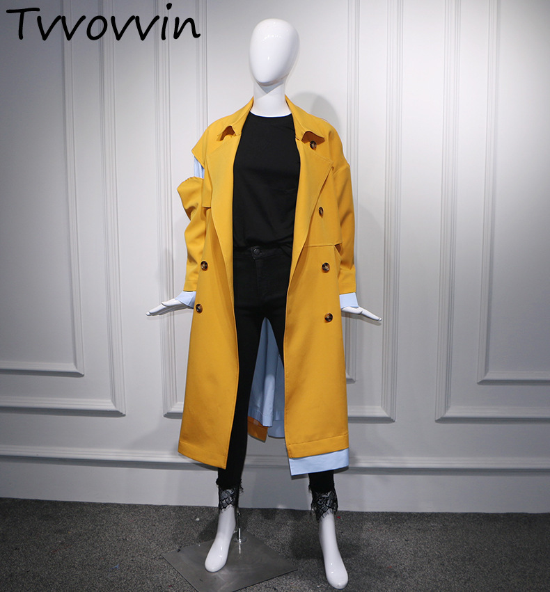 TVVOVVIN 2019 new spring turn-down collar full sleeves patchwork striped spliced single breasted windbreaker   trench   L997