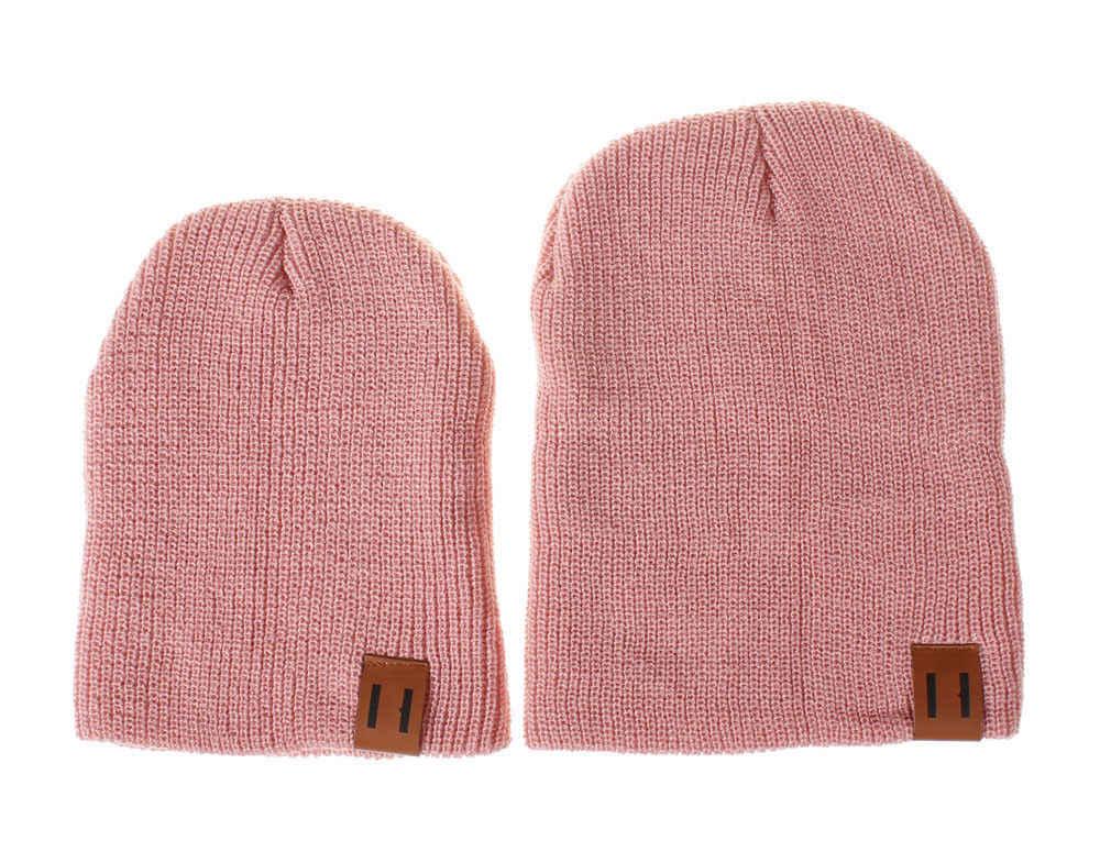 ครอบครัวใหม่หมวกจับคู่เด็กฤดูหนาวเด็ก Dad Mom ถักโครเชต์ Beanie หมวกหมวกอบอุ่น