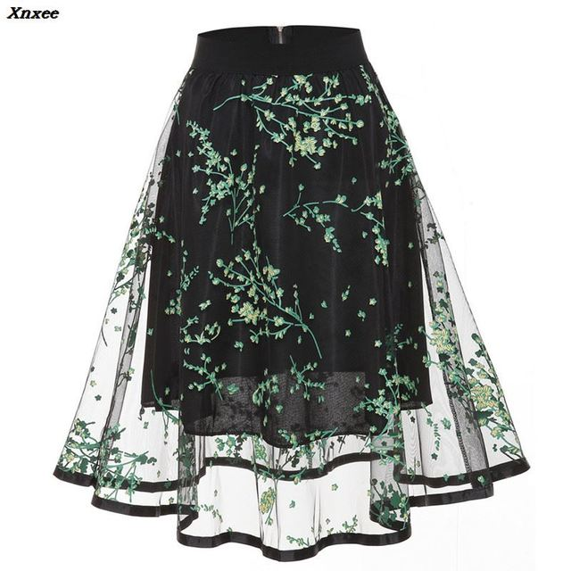 2018 Skirts New Women Middle Long Calf Elastic Force Black Sequins Lace Sexy Splicing High Waist Downloa Girls Faldas Mujer