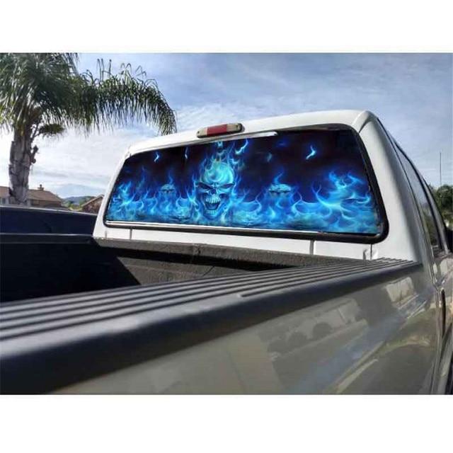 135x36cm for SUV Rear Window Flaming Skull Cool Sticker Rear Window Sticker Phantom pattern