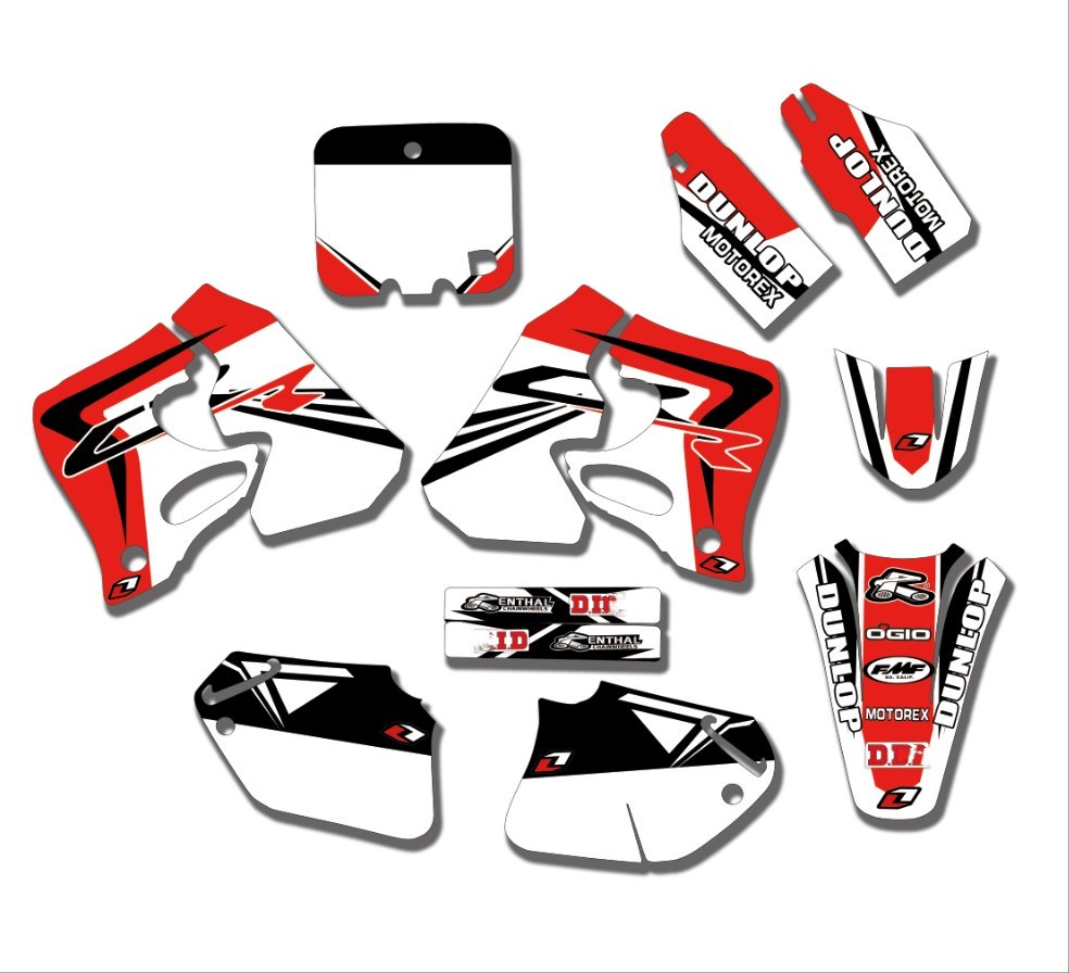 Red &White TEAM DECALS GRAPHICS & BACKGROUNDS Stickers For Honda CRF125 1995 - 1997 CR250 1995 1996 CRF 125 CR 250