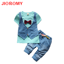 2019 Summer Spring Cotton Baby Boys Clothing Sets Children Vest Fake Two Jacket Tops+ Shorts Kids Formal Clothes Suits