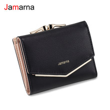 Jamarna Wallet Female Small Wallet Clasps Pocket PU Coin Purse Clasps Red Slim Wallet Card Holder Elegant Style High Quality(China)
