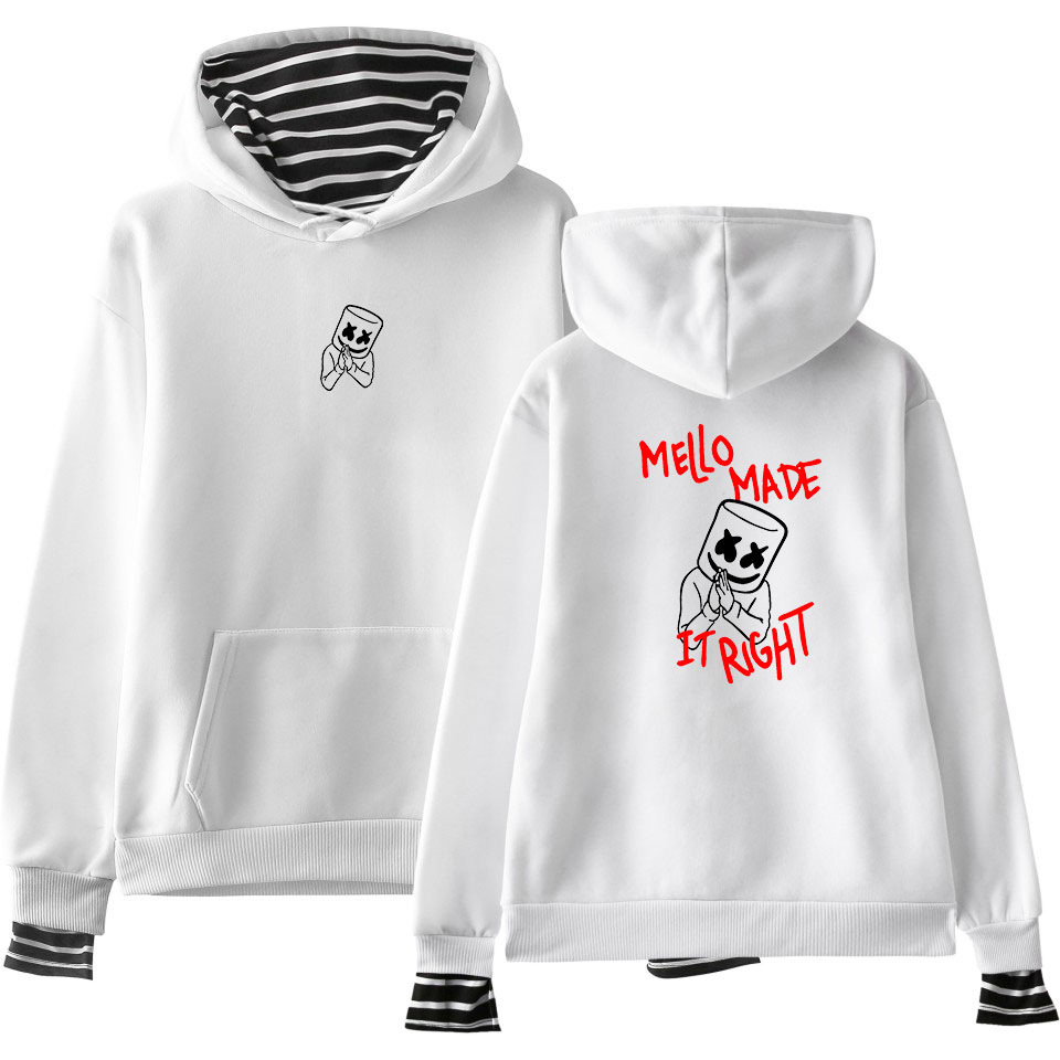DJ Marshmello Funny Hoodie Stripe False Two Piece Cothes Hip Hop Streetwear Long Sleve Hooded Pullovers Tops Moletom Masculino