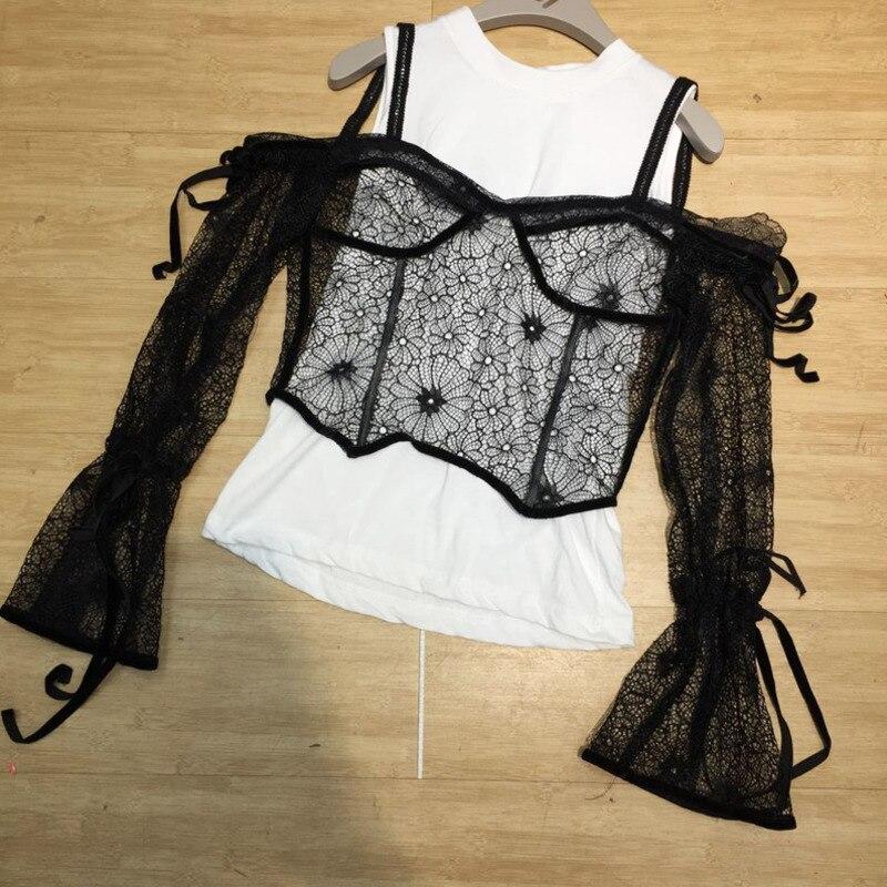 SHENGPALAE femmes printemps été dentelle fronde + gilet costume Sexy bretelles épaule hauts dentelle Patchwork velours costume pour femme HD306