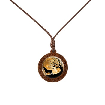 Wooden Glass Cabochon Wolf Moon Pendant Necklaces For Men Women  Mens Necklaces Women's Necklaces
