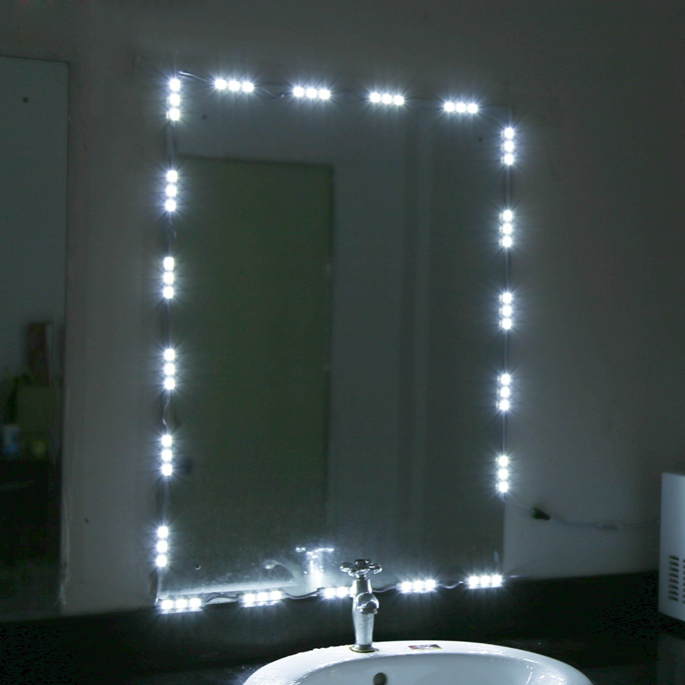 Us 9 15 46 Off 5ft 10ft 12v Led White Dressing Mirror Lighting String Kit Cosmetic Makeup Vanity Mirror Light With Dimmer Power Discount In Table