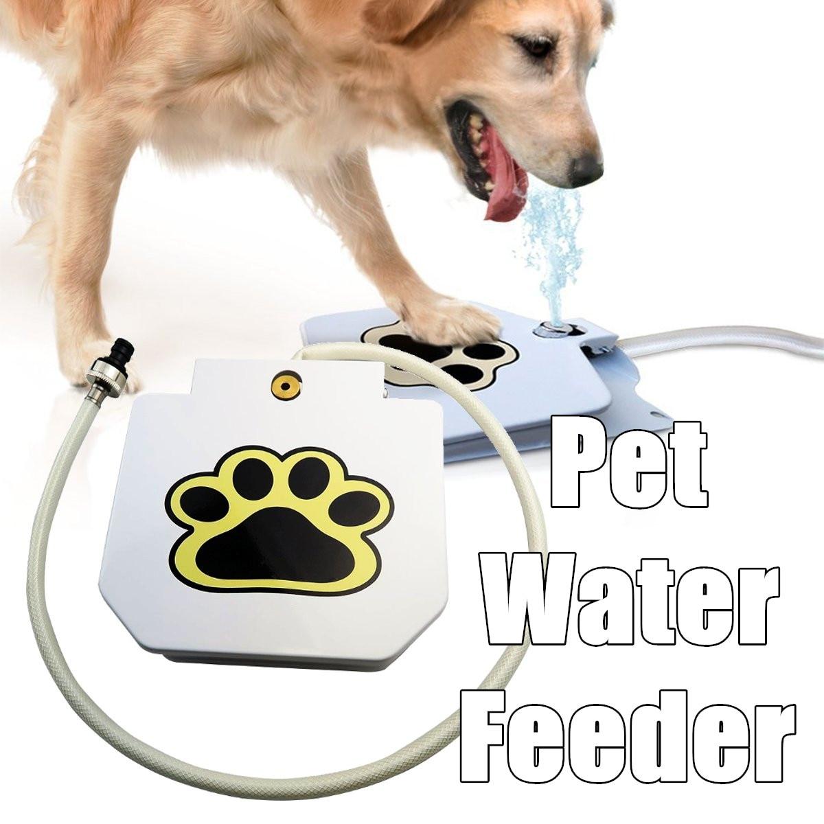 Fontaine pour animaux de compagnie automatique chien mangeoires d'eau en plein air animal de compagnie activé eau potable fontaine tuyau étape pulvérisation pied pédale bouteille d'eau