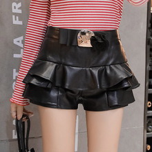 2018 Spring Autumn Modis Women Mid Waist Shorts PU Pleated Leather Skirt Sexy Slim Elastic Waist Super Plus Size Femme Bottoms trendy women s elastic waist pu leather spliced skirt
