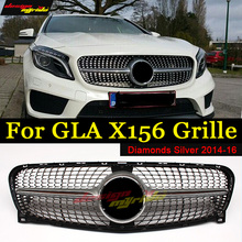 For Mercedes Benz GLA X156 Diamond Grille ABS Silver without central logo GLA180 GLA200 GLA250 Diamond Grills GLA Grille 2014-16 for mercedes benz gla x156 front grille silver abs gla45 amg gla180 gla200 gla250 without central logo front racing grille 14 16